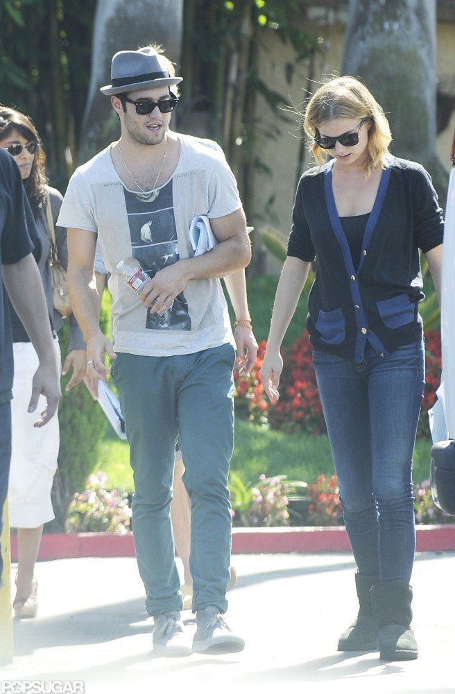 Joshua Bowman and Emily VanCamp hung out on the set of Revenge together in LA.