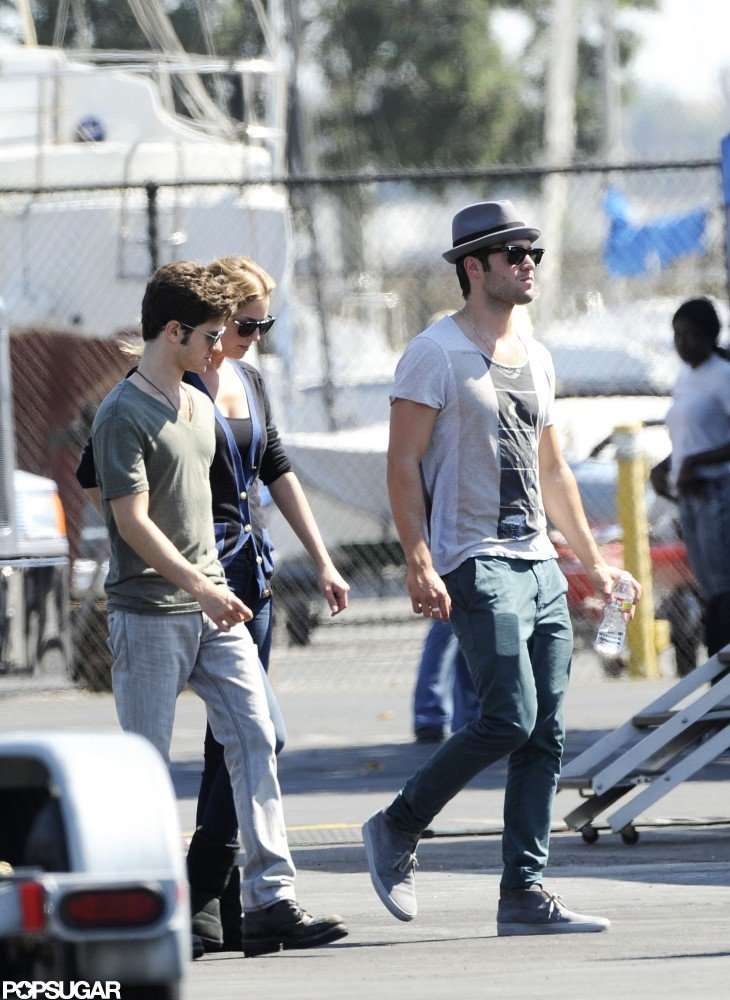 Joshua Bowman and Emily VanCamp were on the set of Revenge together with their costars in LA.