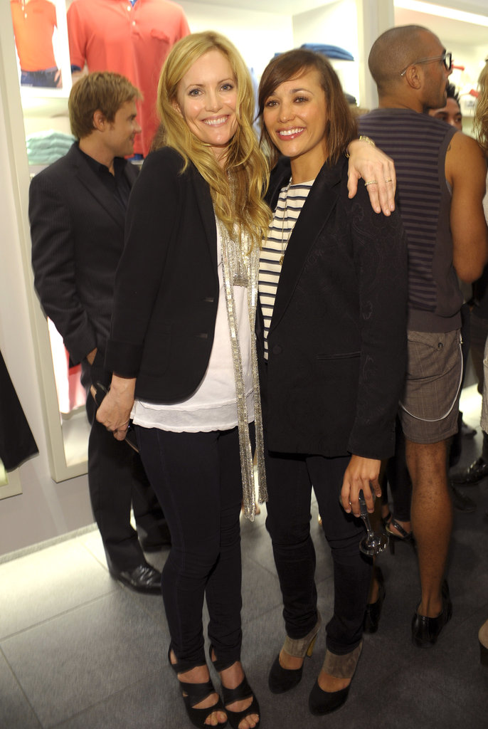 Leslie Mann buddied up with Rashida Jones at October 2009's launch of the Pink Croc collection for breast cancer awareness in LA.