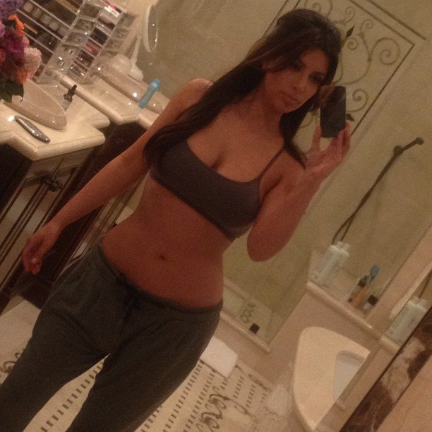 Kim Kardashian snapped a picture in her workout gear. Source: Instagram user kimkardashian
