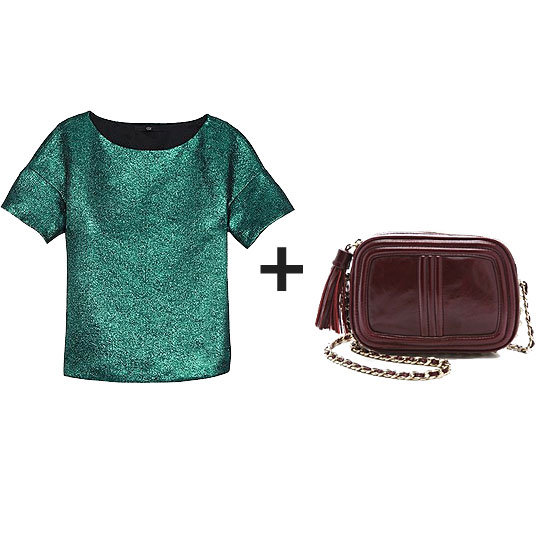 Who says red and green are Christmas-only colors? Work the contrast with a riff on both shades in richer tones. A metallic emerald green topper looks especially seasonal with an oxblood bag in tow — sure, this would look perfect around the holiday party circuit, but it's also a look you could style up with skinny denim or slick leather bottoms and boots right now.  Get the look:  Tibi Lurex Jacquard Top ($285) Rebecca Minkoff Line Quilted Flirty Bag ($275)