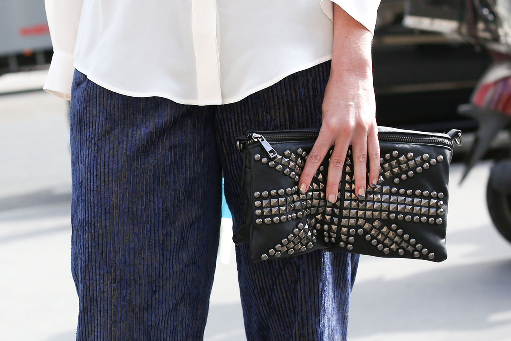 This studded clutch made the statement all on its own.