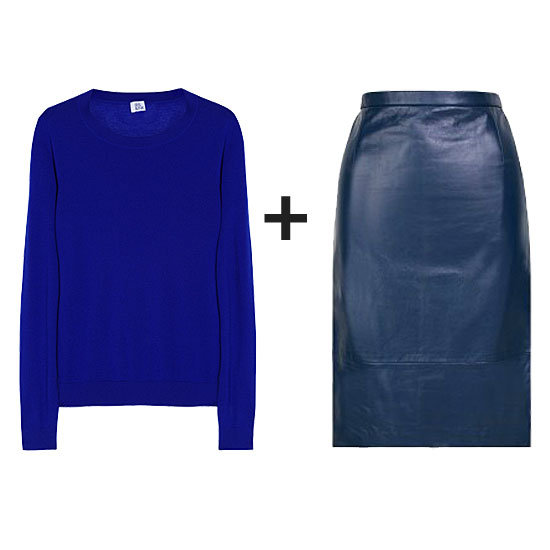 Monochromatic color play in shades of brilliant blue can be just as eye-catching as color contrasts. We love the mix of a bold cobalt against a soft blue leather pencil.  Get the look:  Iris & Ink Fine-Knit Cashmere Sweater ($168) Tibi Leather Pencil Skirt ($690)