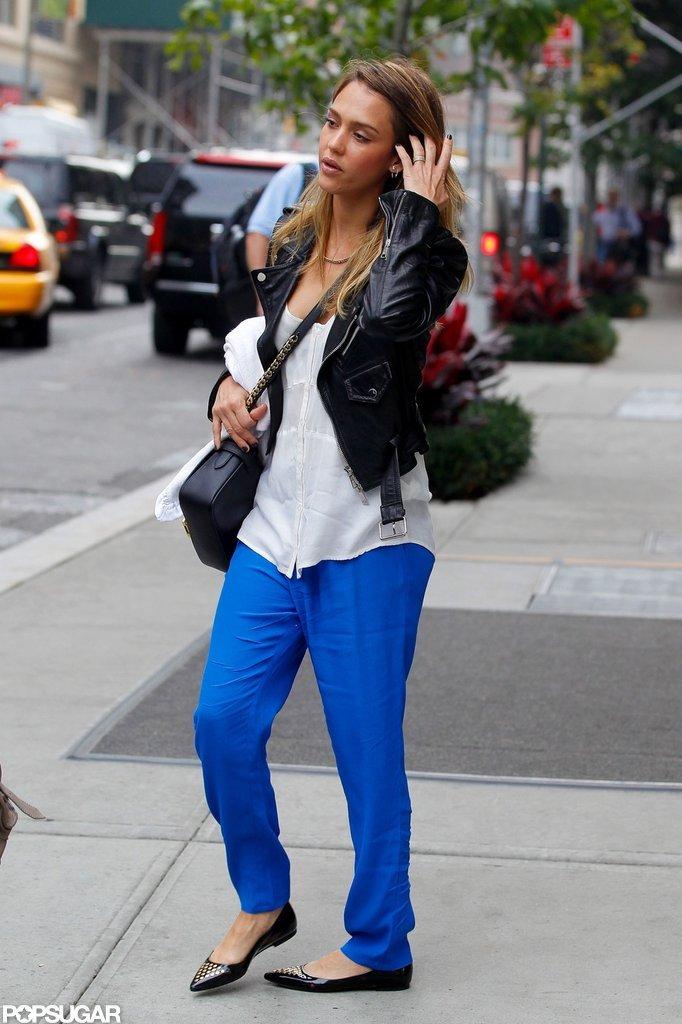 Jessica Alba sported bright blue pants.