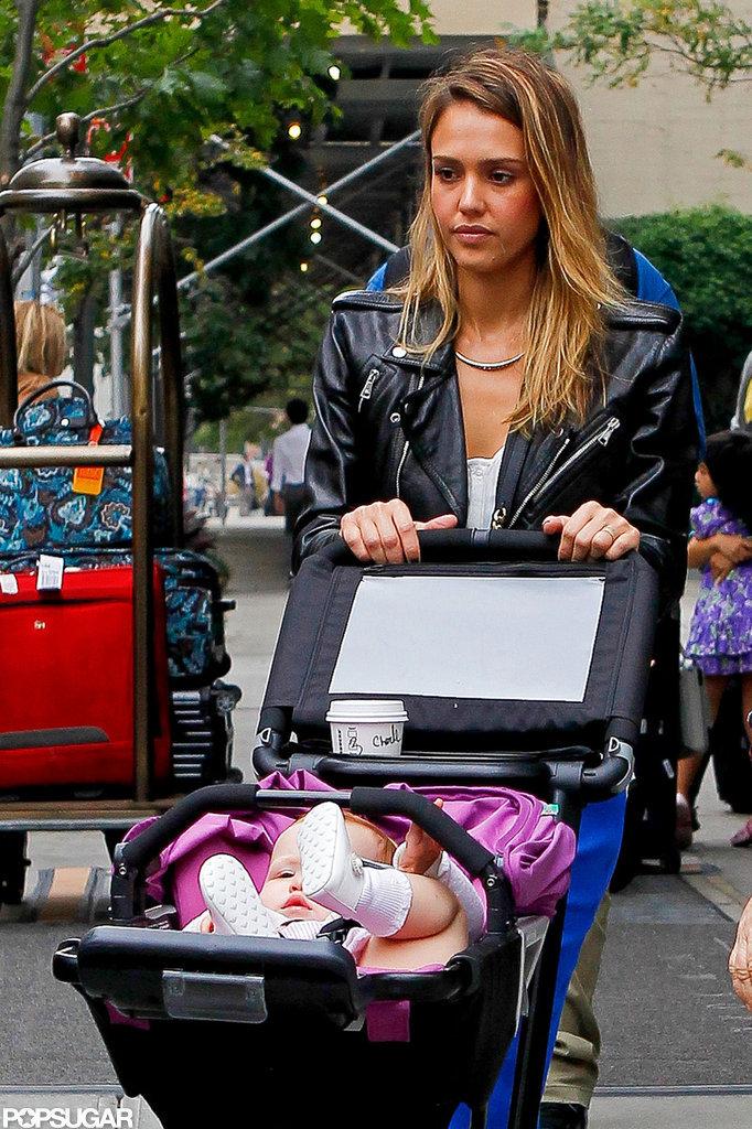 Jessica Alba pushed Haven Warren's stroller in NYC.