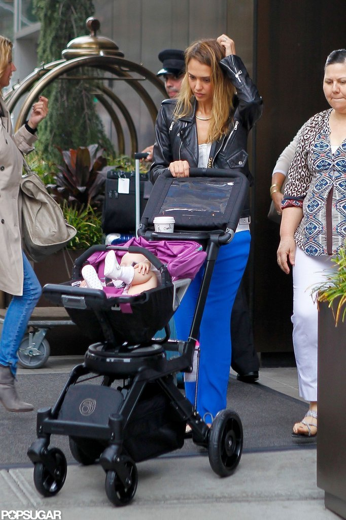 Jessica Alba made her way out of a hotel in NYC with Haven Warren.