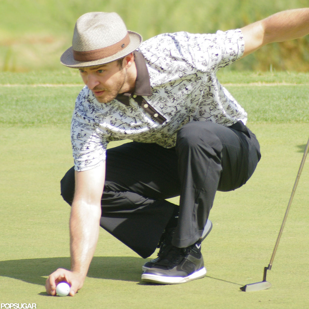 Justin Timberlake lined up his golf ball.