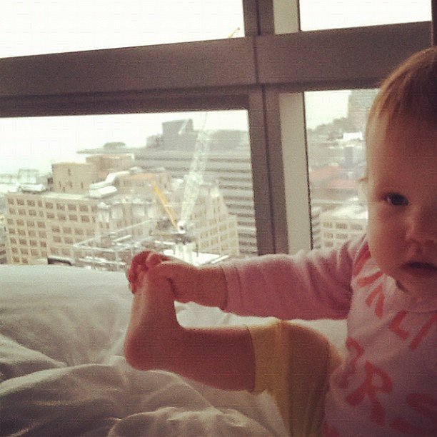 Jessica Alba caught lil Haven doing her morning stretches high above the city. Source: Instagram user jessicaalba