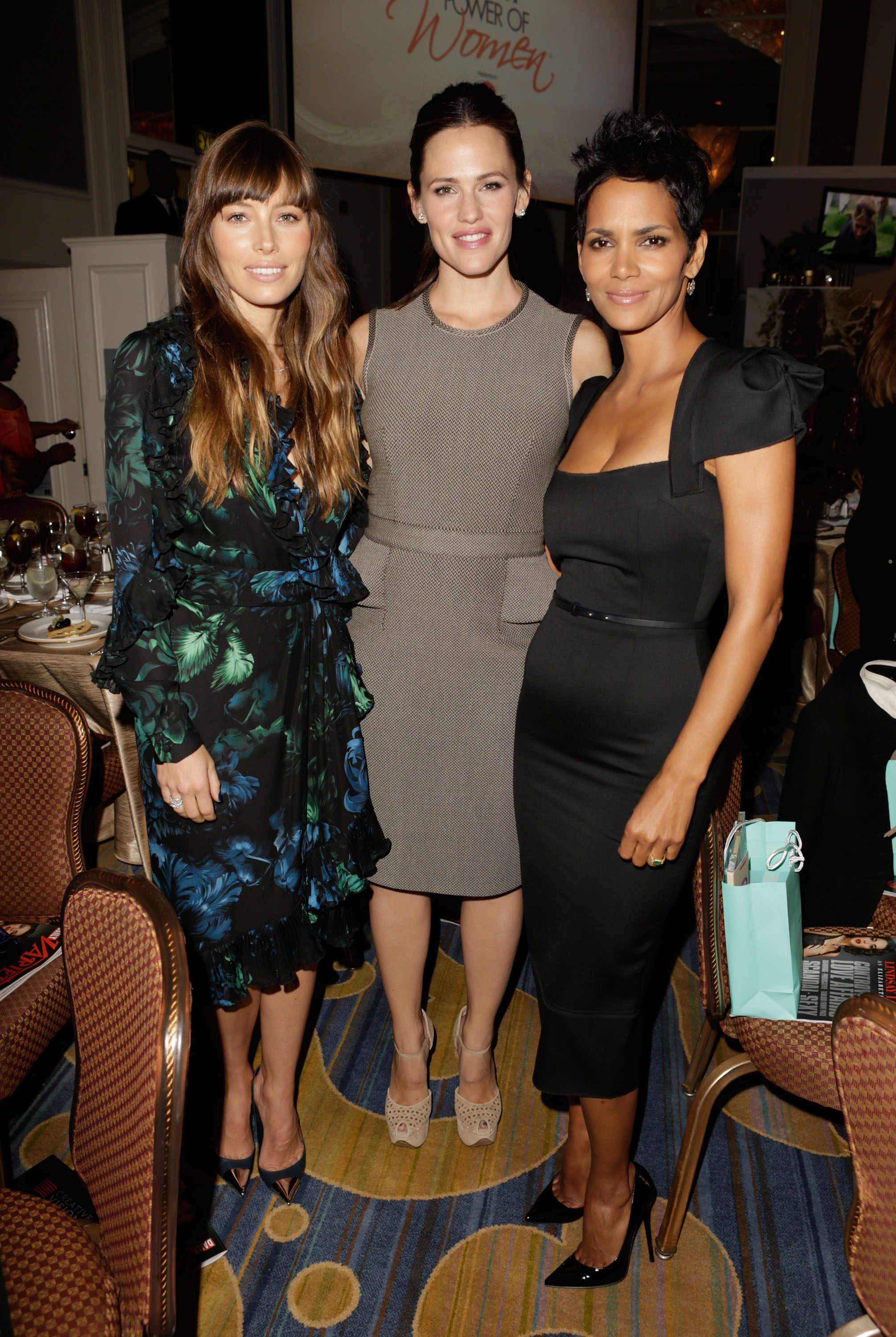 Jessica Biel met up with Halle Berry and Jennifer Garner.