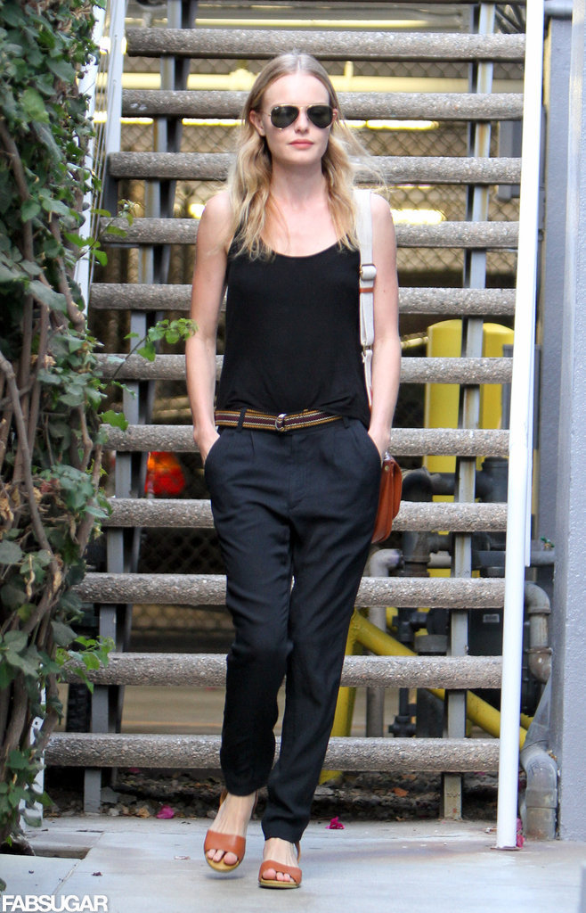 Kate Bosworth stepped out in LA in laid-back trousers and classic aviators.