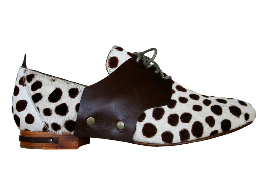 The Freda Change ($350) proves chic versatility in spades. First, it starts as a printed calf-hair saddle shoe . . .