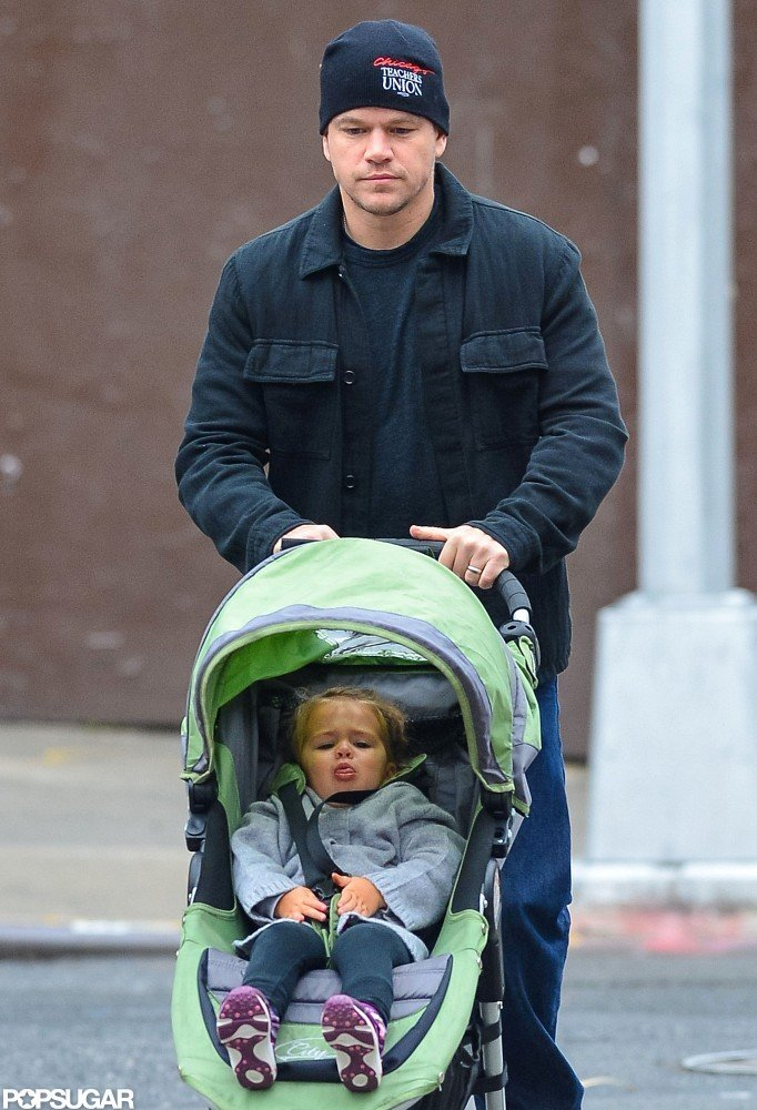 Matt Damon walked with his daughter Stella in NYC.