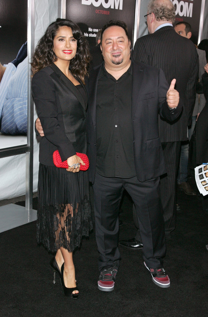 Salma Hayek and director Frank Coraci posed together on the red carpet at the Here Comes the Boom premiere in NYC.