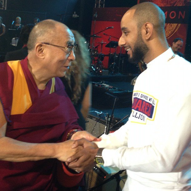 Swizz Beatz appeared at the Dalai Lama's One World Concert in NYC. Source: Twitter user THEREALSWIZZ