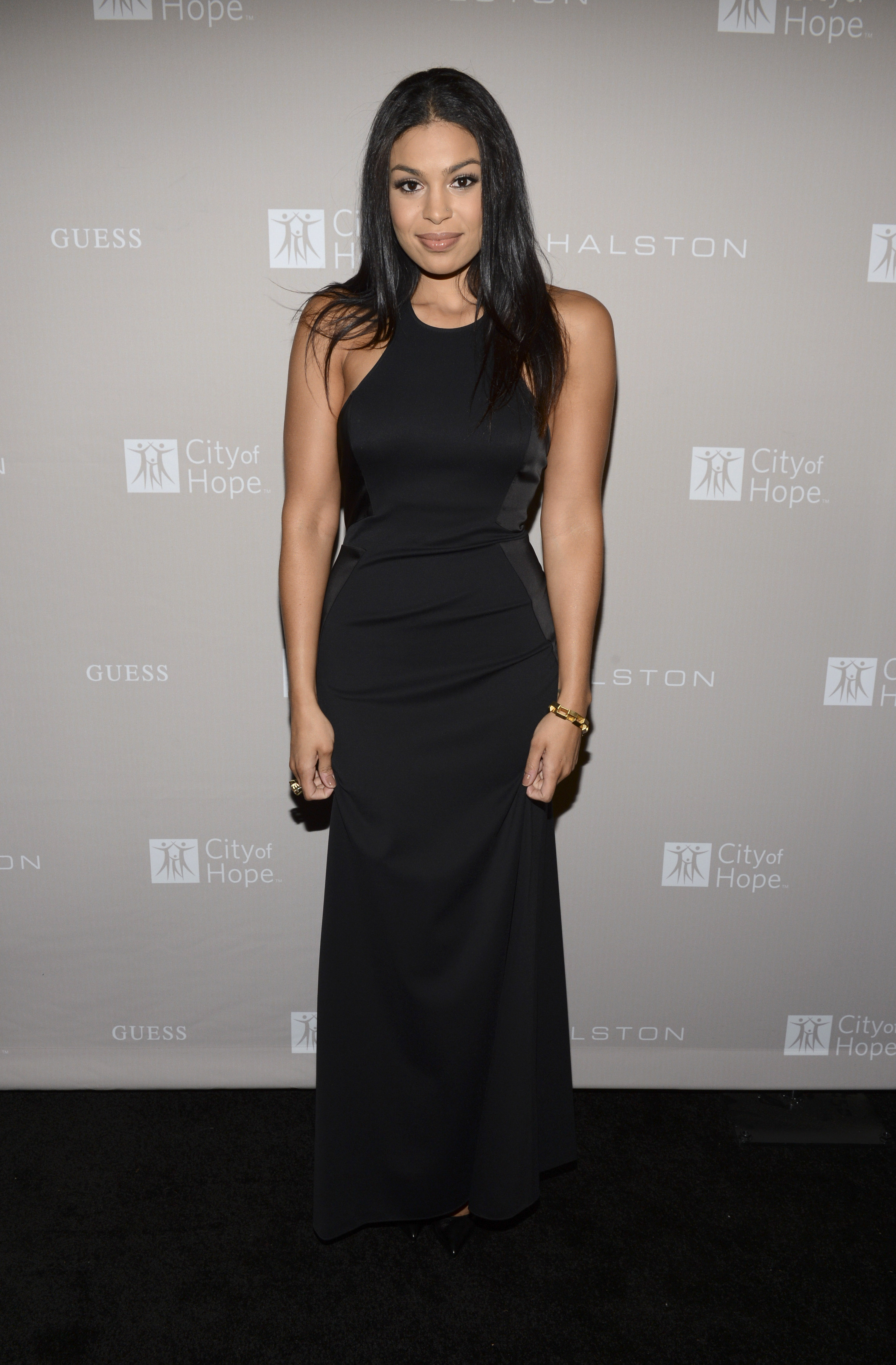 Jordin Sparks wore a full-length black dress to the gala in LA.