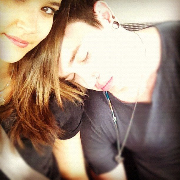 Reece Mastin rested his head on Rhiannon Fish's shoulder. Source: Instagram user rhiannonmfish