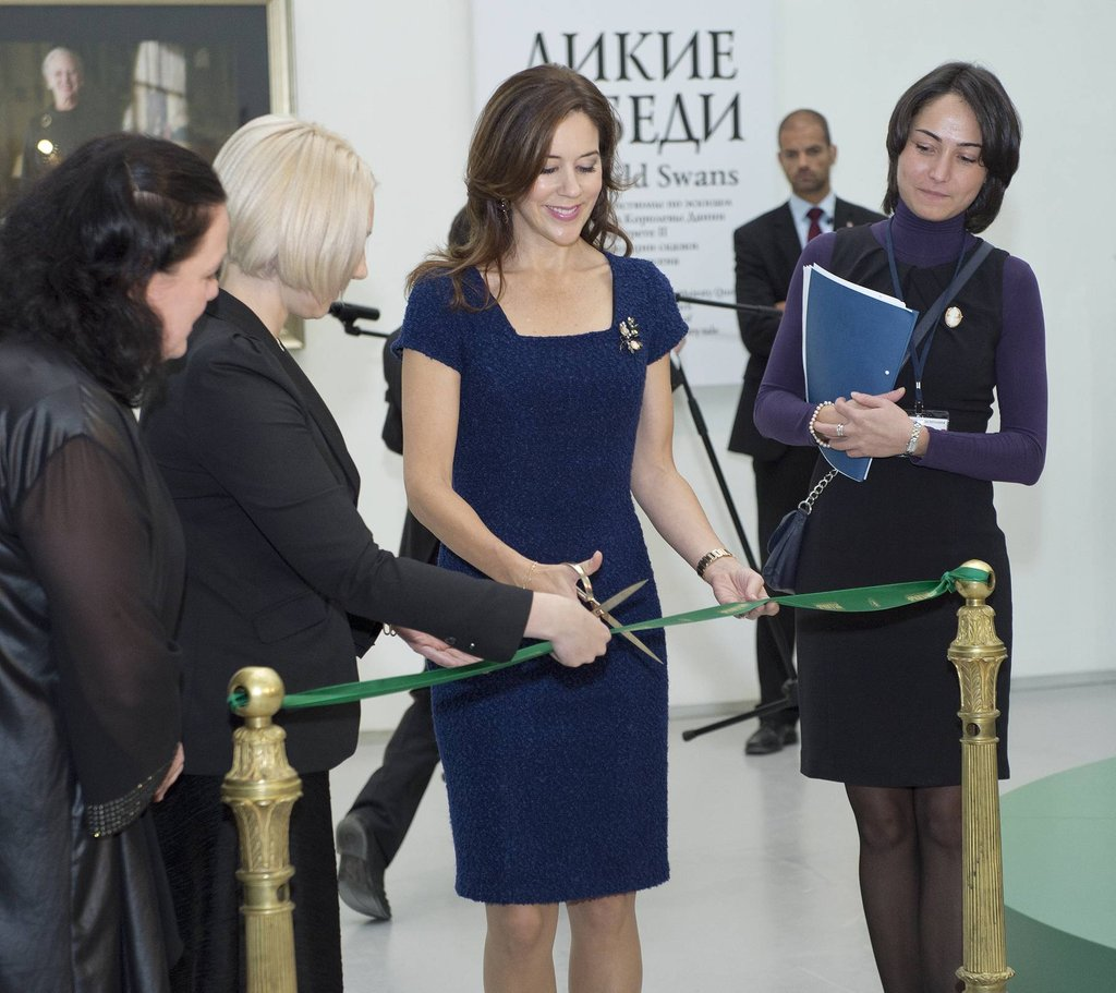 Crown Princess Mary of Denmark opened exhibition The Wild Swans in St. Petersburg, Russia, on October 8.