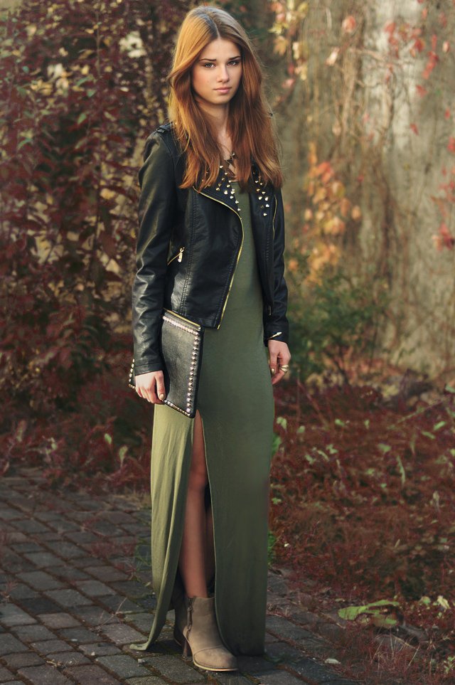 Make your maxi work double time in an on-trend military-hue and with moody seasonal accents and layers. Source: Lookbook.nu