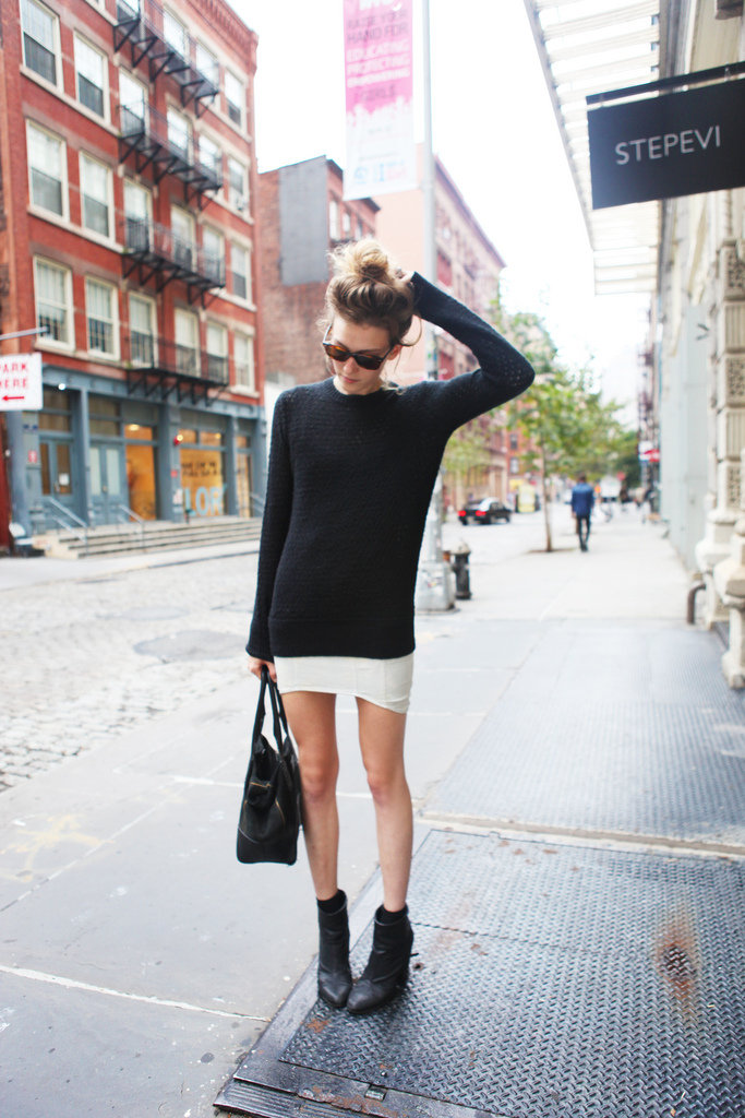 A monochrome palette is simple but effective.  Source: Lookbook.nu