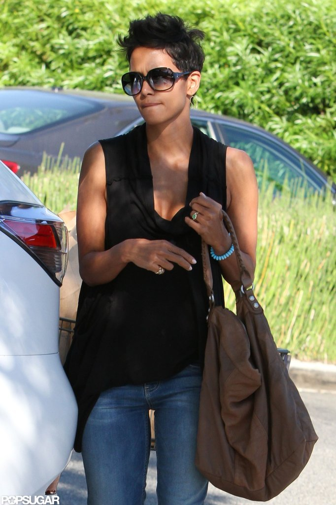 Halle Berry carried a slouchy tote.