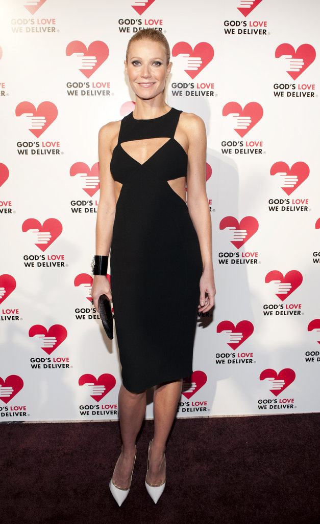 Gwyneth Paltrow dared to bare a little extra skin last night by way of some strategic Michael Kors Spring '13 LBD cutouts. To complete the look, she wore a thick black cuff and contrasted it with slick white pumps.