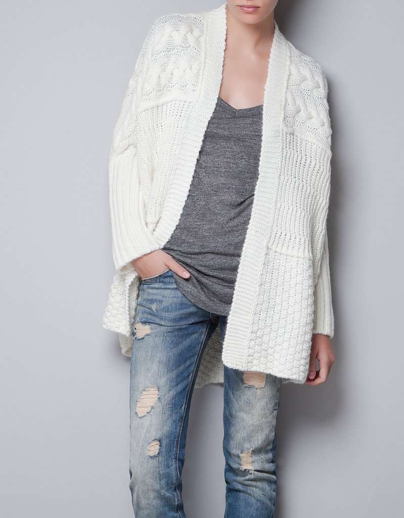 This Zara Oversize Cable-Knit Cardigan ($90) will be a crisp contrast against boyfriend jeans and your favorite t-shirts.