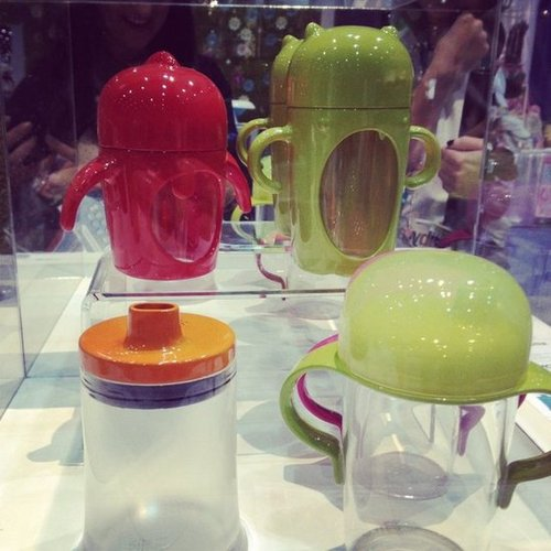 Boon will expand to sippy cups with the introduction of Modster cups (featuring friendly monsters) in April and the stout cup (in the front-left corner) as well.