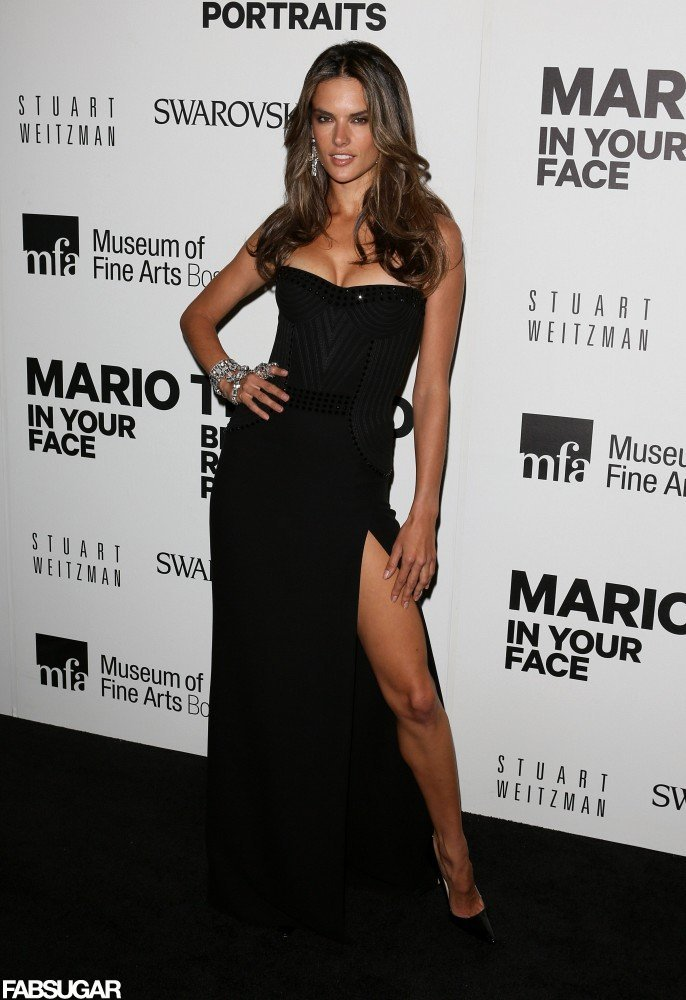 Alessandra Ambrosio donned a sexy strapless black corset gown with a thigh-grazing slit.