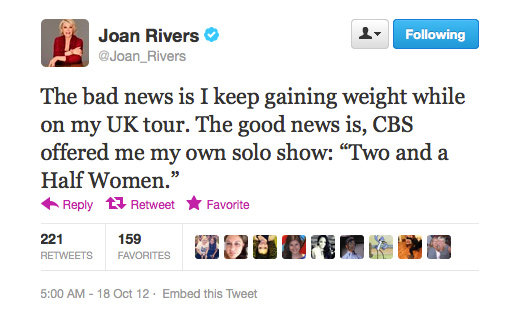 Move over, Ashton Kutcher, Joan Rivers is comin' for your spot.