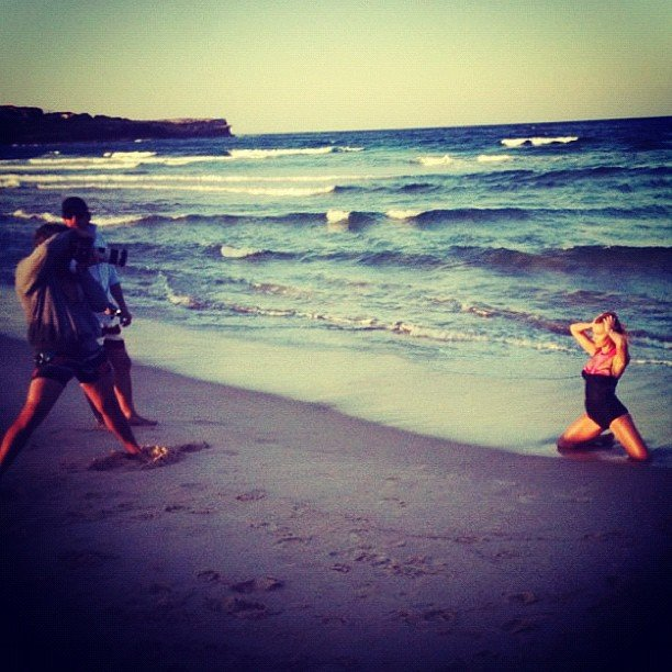 Some behind-the-scenes action on Lara Bingle's CLEO cover shoot. Source: Instagram user mslbingle
