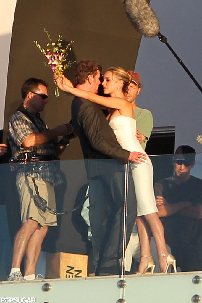 Natalie Portman wore a strapless white dress to film with Michael Fassbender.