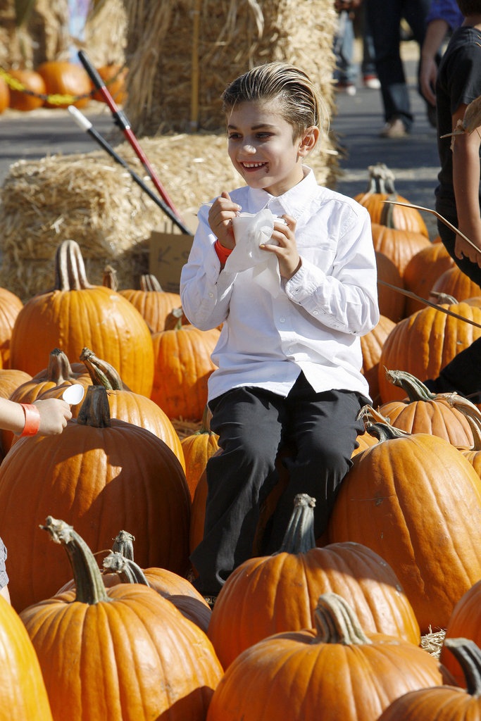 Kingston Rossdale went in search of a pumpkin.