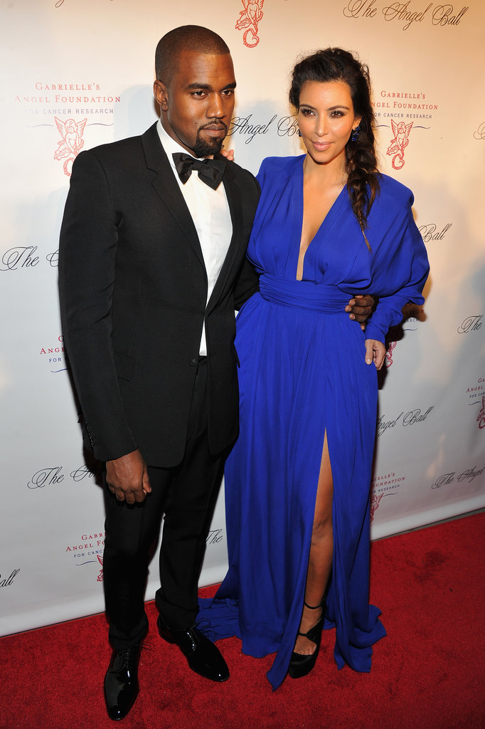 Kim Kardashian and Kanye West posed on the red carpet at the Angel Ball.