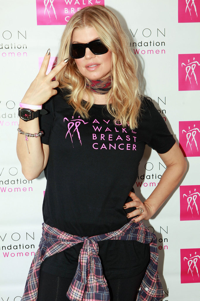 Fergie threw up a peace sign at the Avon Walk for Breast Cancer in Santa Barbara is September 2012.