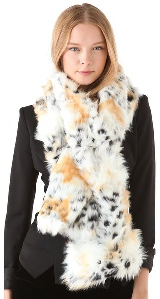 We'd wear this attention-getting Rachel Zoe Snow Leopard Pull-Through Scarf ($190) with a chunky black sweater and leather leggings.
