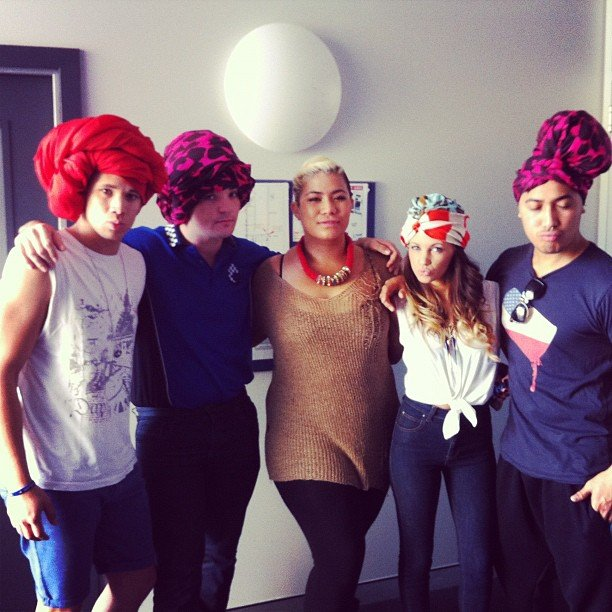 Nathaniel Willemse, Jason Owens, Samantha Jade and Joseph Kalepo donned turbans in honour of Angel Tupai. Source: Instagram user itisnathaniel