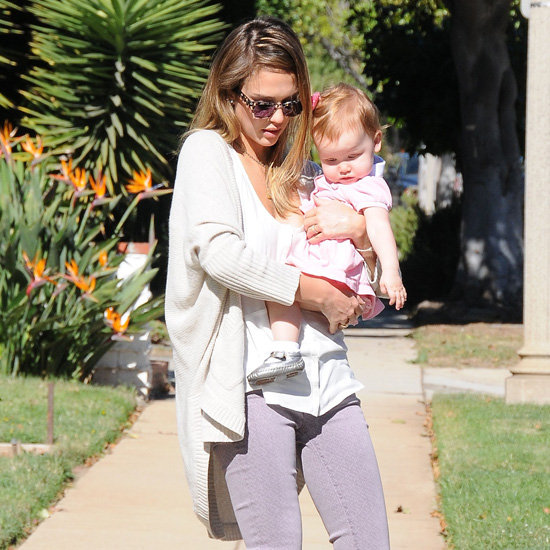 Jessica Alba Wearing Light Pink Jeans