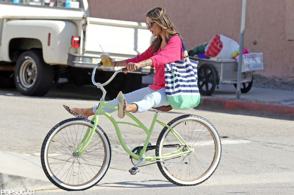 Alessandra Ambrosio showed off her biking skills.