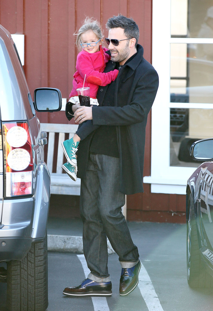 Seraphina Affleck wore pink to run errands with dad Ben Affleck in October 2012 in LA.