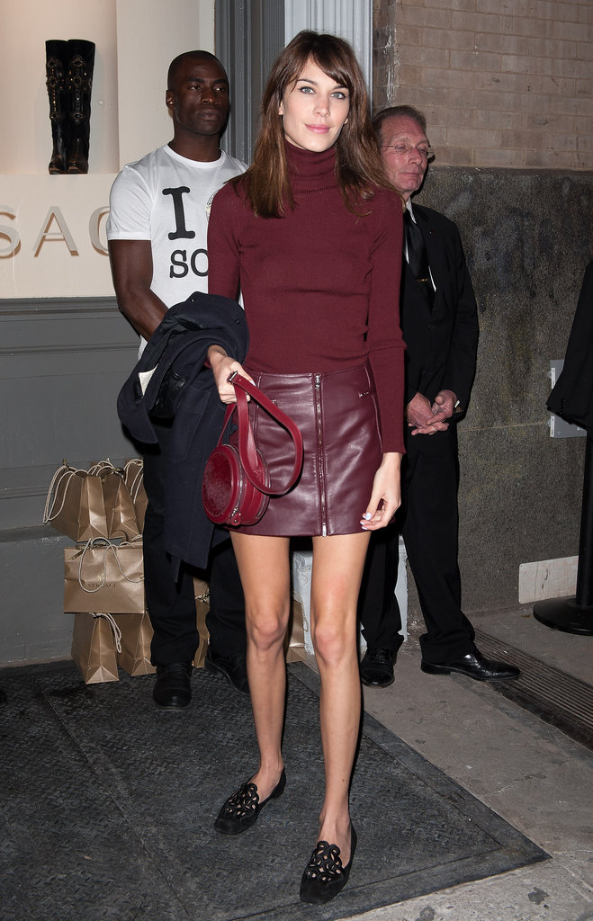 Alexa Chung adopted the look with a Versus leather skirt in rich burgundy hue.