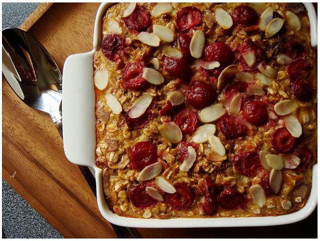 Baked Oatmeal With Sour Cherries and Almonds