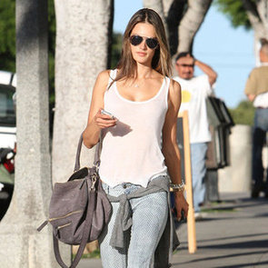 Alessandra Ambrosio Wearing Printed Jeans