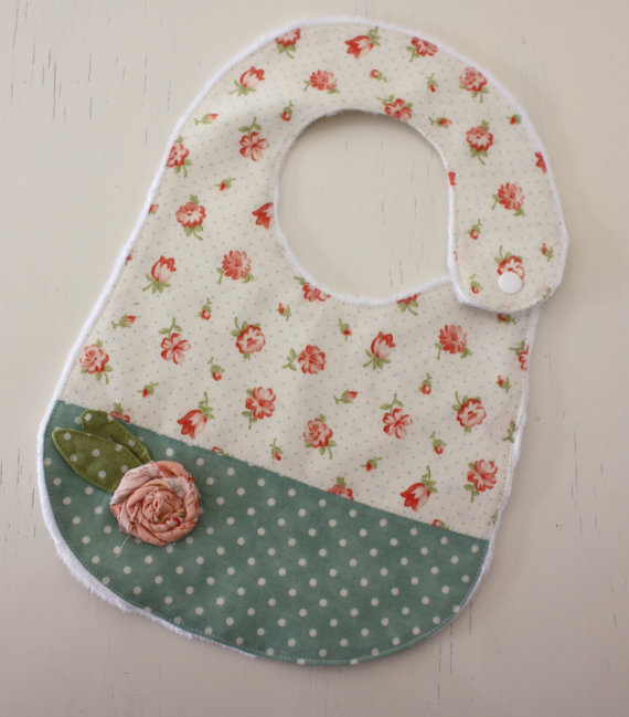 Cream and Teal Baby Bib by Baby Lulabell