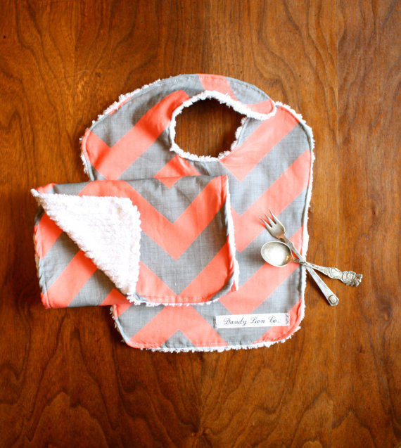 Coral and Gray Chevron Baby and Burp Set by Dandy Lion Clothing Co.