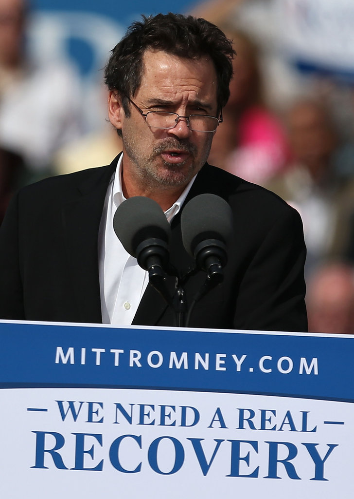Comedian Dennis Miller rallied Republican voters for Mitt Romney in Washington DC.