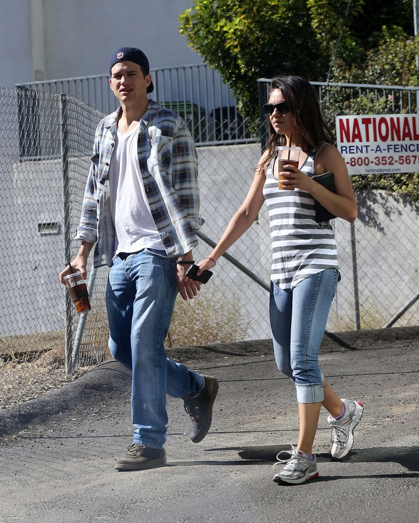 Ashton Kutcher and Mila Kunis walked around LA together.
