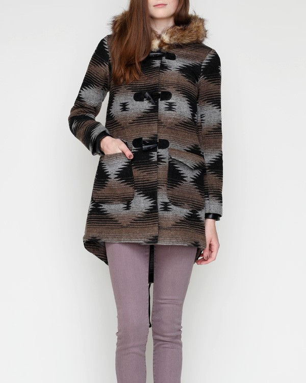 For an Aztec-inspired, blanket-style coat, we suggest BB Dakota's Hue Coat ($120).