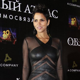 Halle Berry Wearing Black Leather Dress