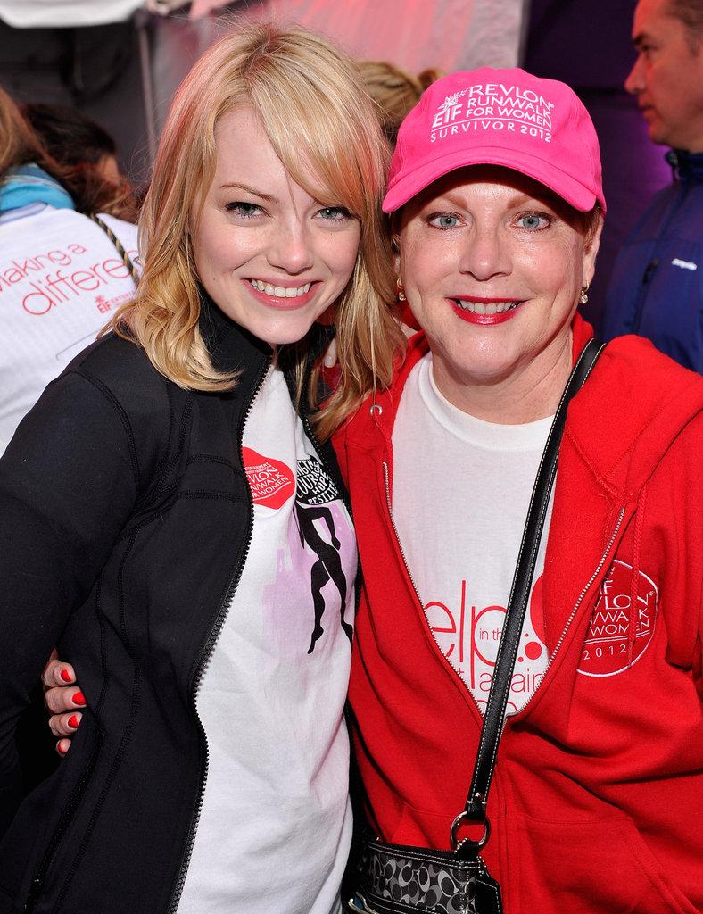 Emma Stone and her mom, Krista, smiled together while attending the Revlon Run/Walk For Women in NYC in May 2012.