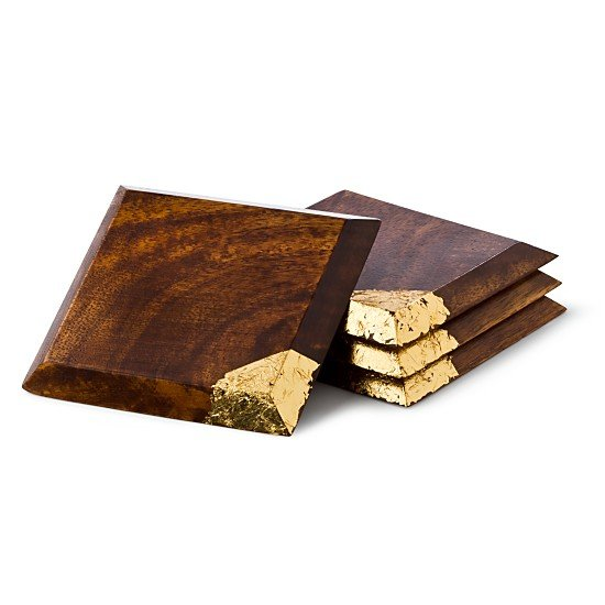 Diane von Furstenberg Gold Leaf Wood Coasters